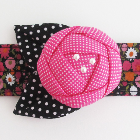 Pink and black pincushion cuff