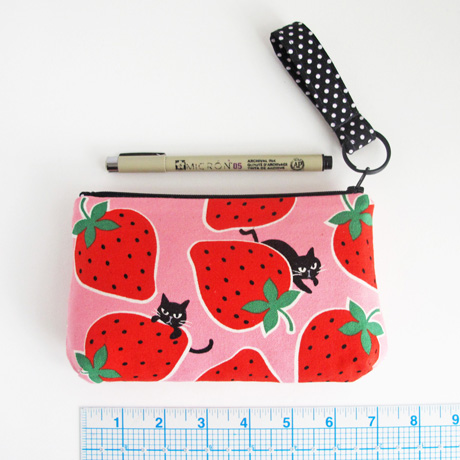 Cats and strawberries zip clutch