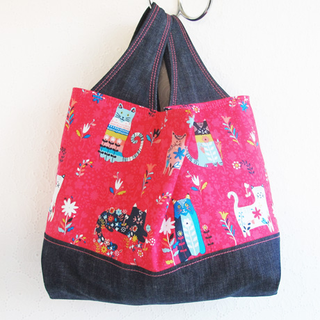 Cat print fabric bag
