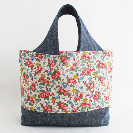 Small Fabric Grocery Bag with Box Bottom