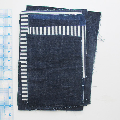 Denim fabric pieces