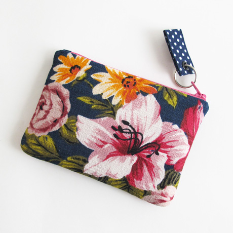 Barkcloth zipper pouch