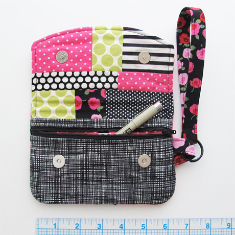 Pink and black patchwork lining