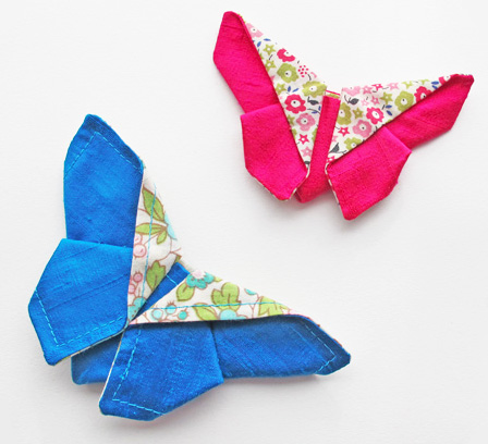 Blue and pink silk butterflies