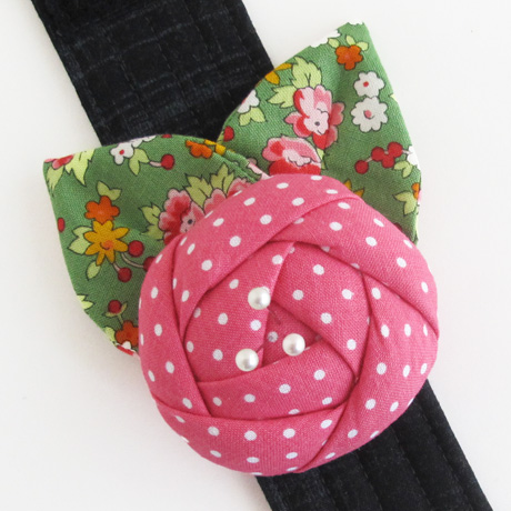 Pink rose pincushion cuff