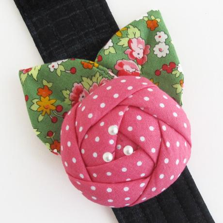 Pink rose pincushion cuff