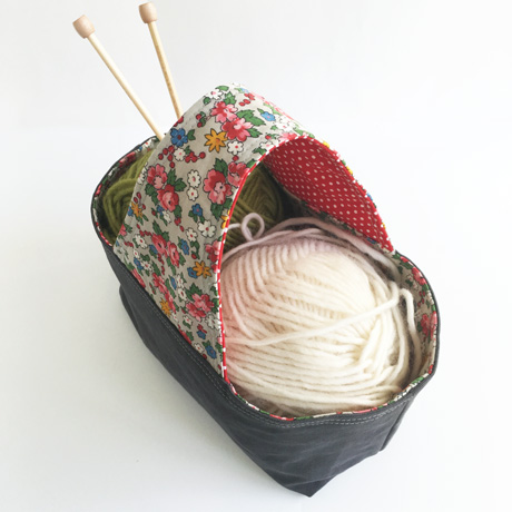 Grey Canvas Basket Bag