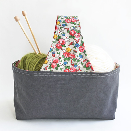 Grey Canvas with Floral Handle