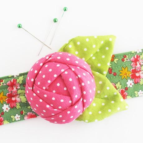 Pink and green rose pincushion cuff