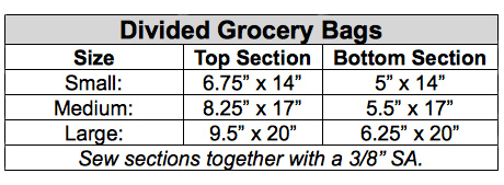 Divided grocery bag dimensions