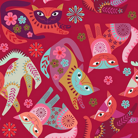 Stitch Cats Clothworks Fabric in Red