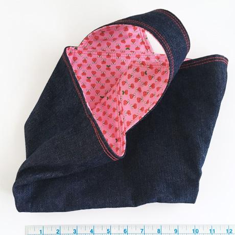 Denim Basket Bag with Pink Lining