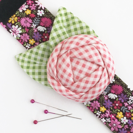 Gingham Rose Pincushion Cuff
