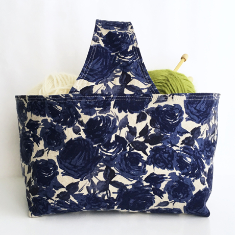 Blue Roses Basket Bag