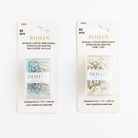 Bohin Pins in Blue or Ivory