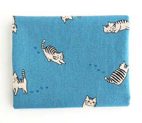 Cotton Linen Fabric with Striped Cats