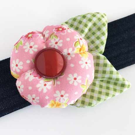 Pink Flower Pincushion Cuff
